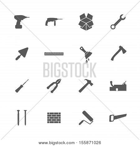 Home repair and renovation icons set building and construction concept 16 signs 2d vector illustration of icons eps 8