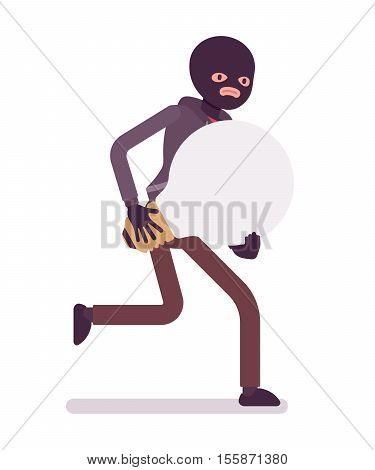Thief, wearing a black balaclava, gloves is runnig away with stolen lamp bulb, symbol of idea in his hands. Cartoon vector flat-style concept illustration