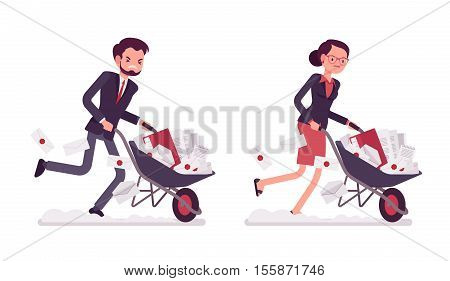 Set of businessman and businesswoman pushing quickly with effort a wheelbarrow full of documentation. Cartoon vector flat-style concept illustration