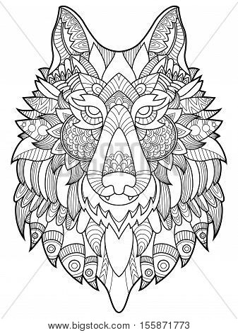 Wolf coloring book for adults vector illustration. Anti-stress coloring for adult. Tattoo stencil. Zentangle style. Black and white lines. Lace pattern