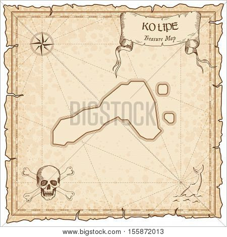 Ko Lipe Old Pirate Map. Sepia Engraved Parchment Template Of Treasure Island. Stylized Manuscript On