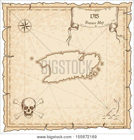 Vis Old Pirate Map. Sepia Engraved Parchment Template Of Treasure Island. Stylized Manuscript On Vin