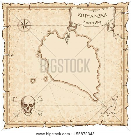 Ko Pha Ngan Old Pirate Map. Sepia Engraved Parchment Template Of Treasure Island. Stylized Manuscrip