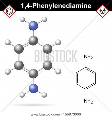 Para Phenylenediamine chemical structure 2d and 3d vector illustration of chemical structure isolated on white background eps 10