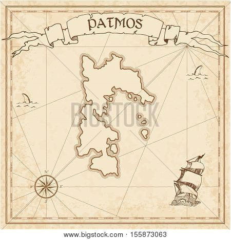 Patmos Old Treasure Map. Sepia Engraved Template Of Pirate Island Parchment. Stylized Manuscript On