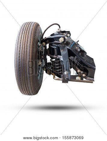 Front Wheel Drive Car New Tire And Shock Absorber Isolated On White.