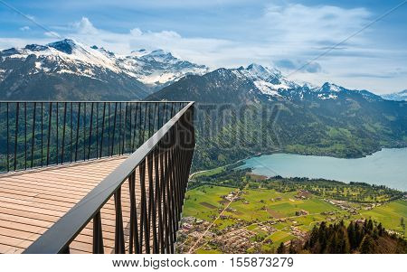 Vantage platform affords unrivalled views of Eiger Monch end Jungfrau. Swiss Alps