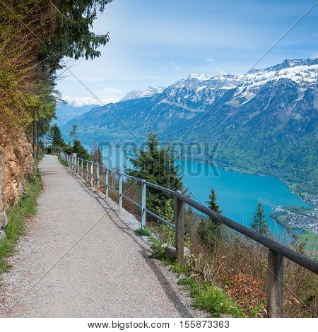 The path in the mountains walk along the Bernese Oberland
