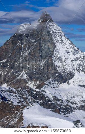 Close up view of mount Matterhorn, Alps, Canton of Valais, Switzerland