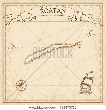 Roatan Old Treasure Map. Sepia Engraved Template Of Pirate Island Parchment. Stylized Manuscript On