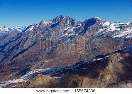 Amazing panoramaof Swiss Alps, Canton of Valais, Switzerland
