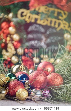 Christmas wreath with group of decorations.
