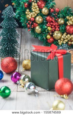 Christmas wreath with text merry christmas,studio shot.