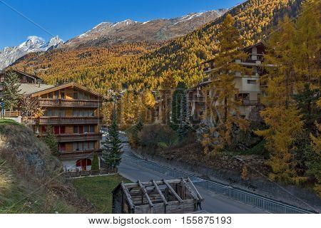 Panoramic view to Zermatt Resort, Canton of Valais, Switzerland