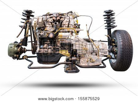Car Engine And Wheel Drive Car New Tire And Shock Absorber.