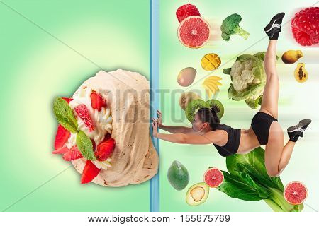 The collage of young beautiful woman with healthy and harmful meal