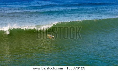 Several surfers waiting for a good wave. San Diego California