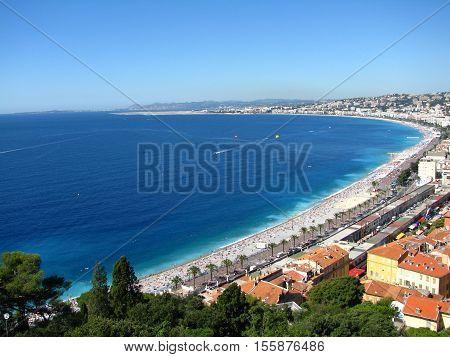 sea, promenade and panorama of the city Nizza