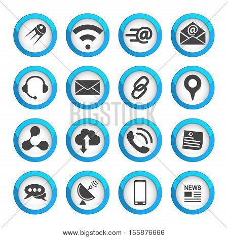 Connection and communication icons set 16 vector 2d signs on round pads eps 10