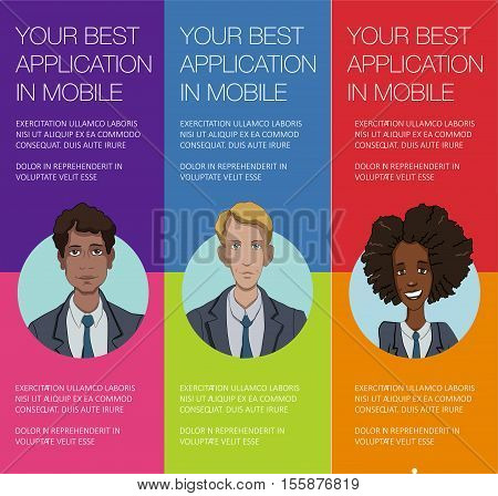 Vector colorful banner with business people. Set of vertical banner for advertisement. Vector office people talking. Banner for presentation product service startup. Web banner with ballon talk