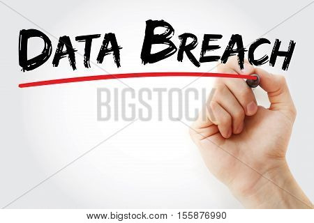 Hand Writing Data Breach With Marker