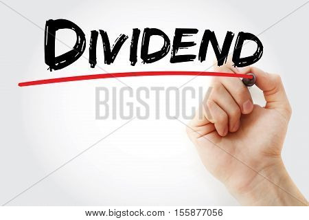 Hand Writing Dividend With Marker
