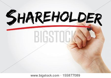 Hand Writing Shareholder With Marker