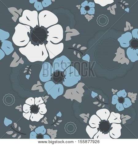 Seamless wall-paper nostalgic flowers blue-gray background. Gentle flowers anemones in a retro style. Vector EPS10. A print for fabric packing paper wall-paper cards etc.