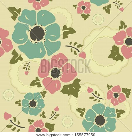 Seamless wall-paper nostalgic flowers creamy background. Gentle flowers anemones in a retro style. Vector EPS10. A print for fabric packing paper wall-paper cards etc.