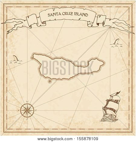 Santa Cruz Island Old Treasure Map. Sepia Engraved Template Of Pirate Island Parchment. Stylized Man