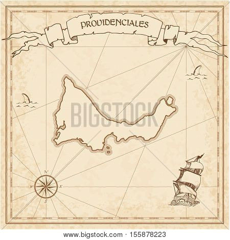 Providenciales Old Treasure Map. Sepia Engraved Template Of Pirate Island Parchment. Stylized Manusc