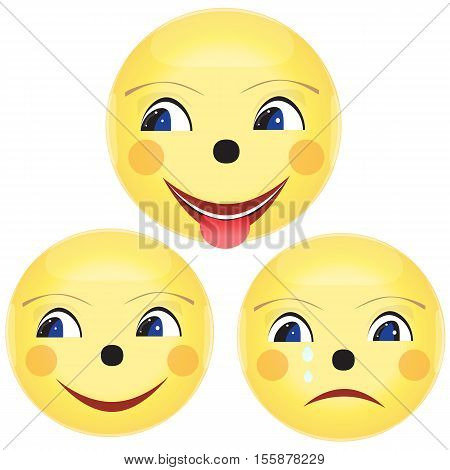 Smile icon color. Three images. Vector illustration.