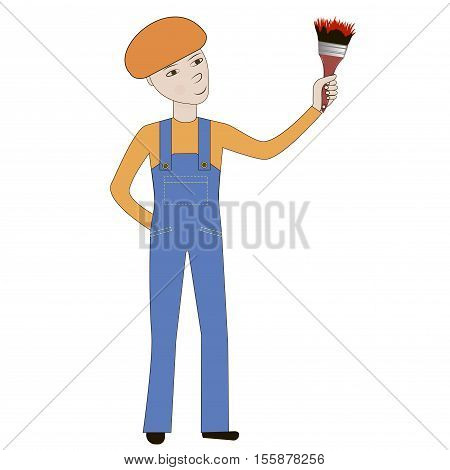 Young cartoon painter holding a brush. Working with a brush. Vector illustration.