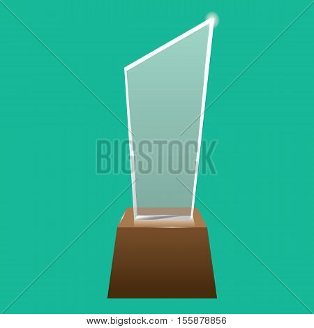 Empty realistic glass trophy awards vector statue. Glossy transparent trophy for award illustration. Promotional objects mock up.