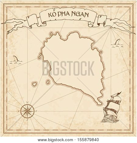 Ko Pha Ngan Old Treasure Map. Sepia Engraved Template Of Pirate Island Parchment. Stylized Manuscrip