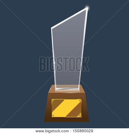 Empty realistic glass trophy awards vector statue with empty golden board. Glossy transparent trophy for award illustration. Promotional objects mock up.