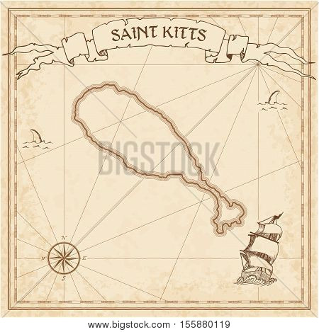Saint Kitts Old Treasure Map. Sepia Engraved Template Of Pirate Island Parchment. Stylized Manuscrip