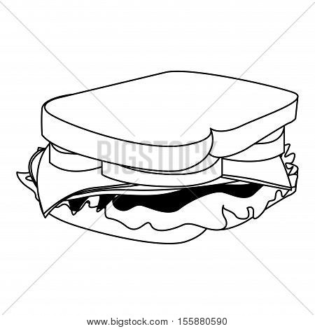 sandwich fast food icon image vector illustration design
