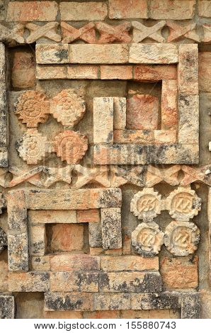 Ancient Mexican designs and symbols on the pyramids of the Maya of Yucatan.