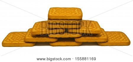 Yellow biscuit tower isolated on white background