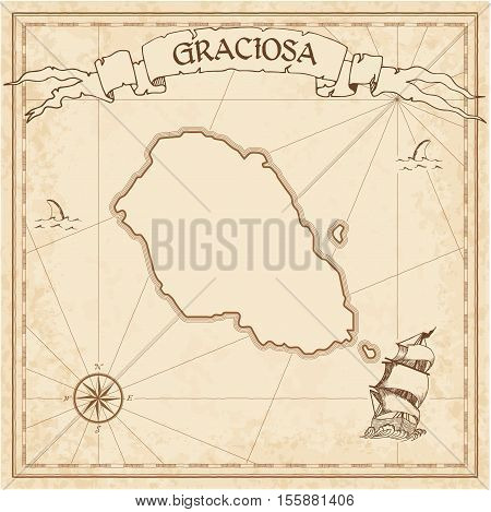 Graciosa Old Treasure Map. Sepia Engraved Template Of Pirate Island Parchment. Stylized Manuscript O
