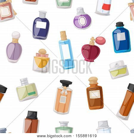 Vector perfume fashion container seamless pattern smell spray bottle template. Vector illustration perfume shop symbols elegant merchandise gift. Beauty liquid luxury fragrance aroma perfume