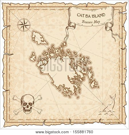 Cat Ba Island Old Pirate Map. Sepia Engraved Parchment Template Of Treasure Island. Stylized Manuscr