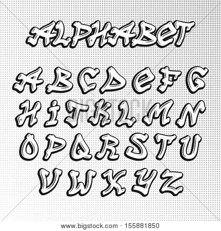 Graffiti font alphabet letters urban paint sketch artistic letter. Hip hop type alphabet abc graffiti font design. Calligraphy vector art design graffiti font typeset typographic illustration text.