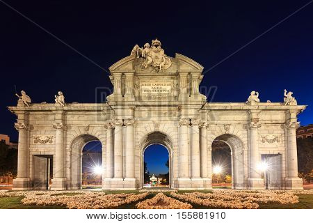 The Puerta de Alcala is a monument in the Plaza de la Independencia in Madrid Spain.