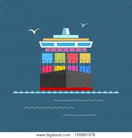 Front View of the Cargo Container Ship at Sea, Industrial Marine Vessel with Containers on Board, International Freight Transportation, Vector Illustration