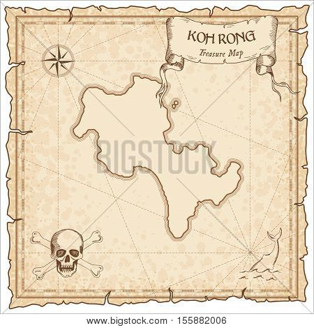 Koh Rong Old Pirate Map. Sepia Engraved Parchment Template Of Treasure Island. Stylized Manuscript O