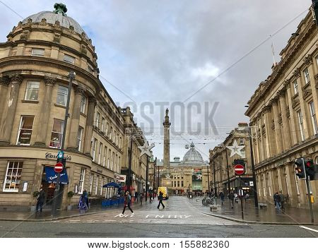 NEWCASTLE - NOVEMBER 9: Christmas lights during the day in the city centre on November 9, 2016 in Newcastle, UK.