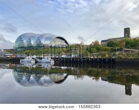 NEWCASTLE - NOVEMBER 9: Sage Gateshead  concert venue and centre for musical education on November 9, 2016 in Newcastle, UK.