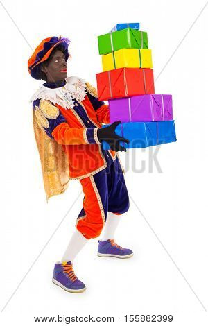 zwarte piet.clipping path included  .typical Dutch character part of a traditional event celebrating the birthday of Sinterklaas in december